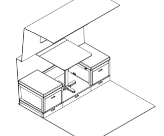 Everything Goes - Dinette for boats and small spaces - isometric technical drawing on a narrowboat
