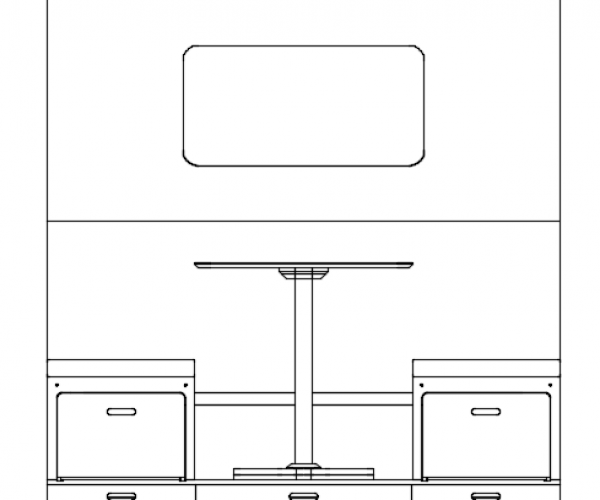 Everything Goes - Dinette for boats and small spaces - front view isometric drawing