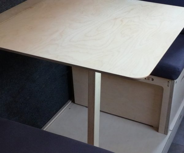 Everything Goes - Dinette for boats and small spaces - made of Birch Ply with Organic Cotton upholstery - on narrowboat