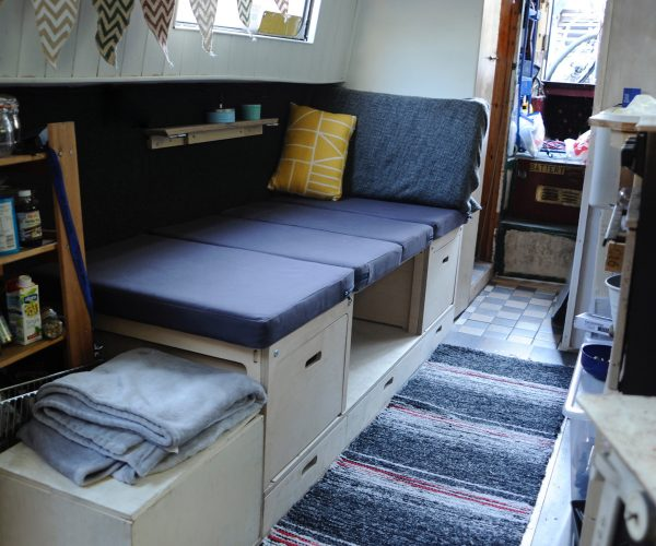 Everything Goes - Dinette for boats and small spaces - made of Birch Ply with Organic Cotton upholstery made into Day Bed - on narrowboat