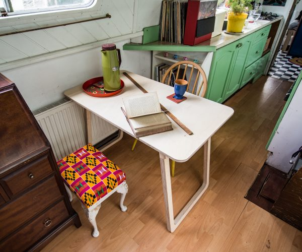 Everything Goes – Fold-Up Table – positioned across ways on narrowboat