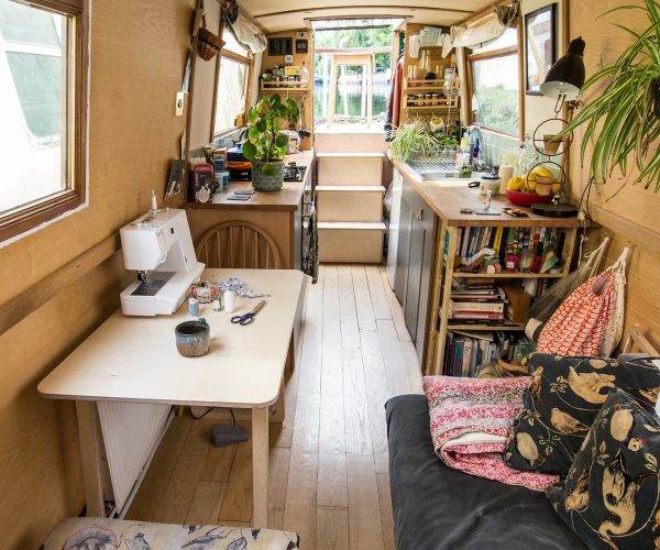 Everything Goes – Fold-Up Table – on narrowboat with sewing machine