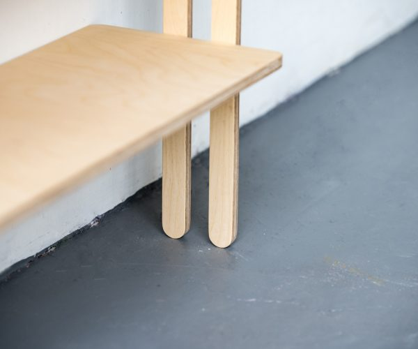 Everything Goes - Slant shelving for boats and angled walls. Beatifully made in Birch Ply - detail - close up of legs