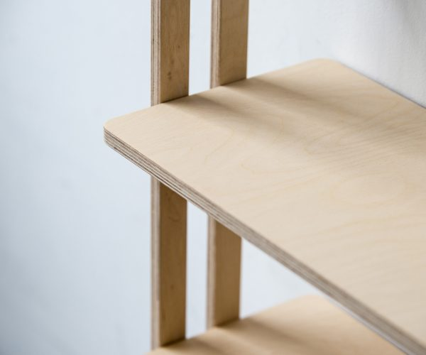 Everything Goes - Slant shelving for boats and angled walls. Birch Ply shelf edge close up