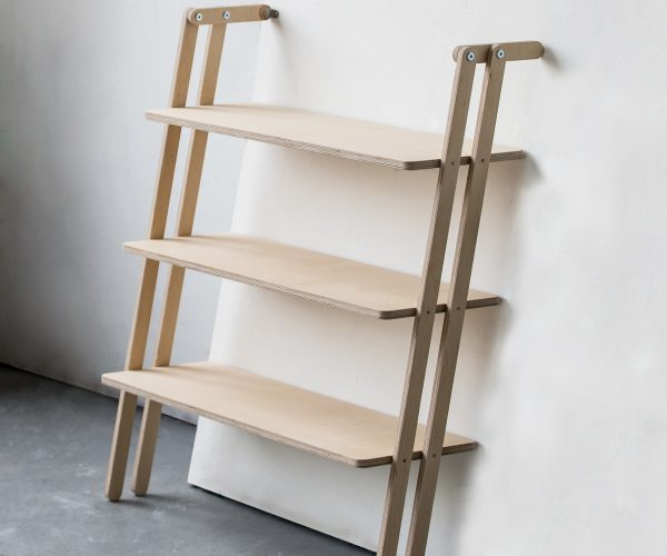 Everything Goes - Slant shelving for boats and angled walls. Beatifully made in Birch Ply with clever system to fit angled or straight walls. Shown here fitted to an angled wall