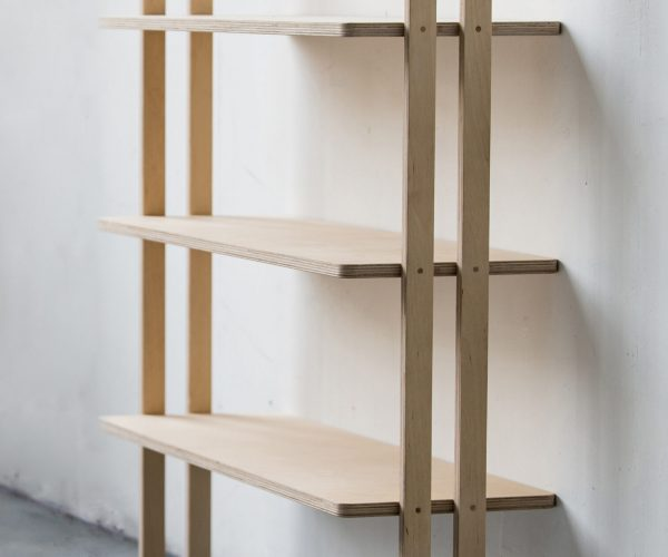Everything Goes - Slant shelving for boats and angled walls. Beatifully made in Birch Ply with clever system to fit angled or straight walls. Shown here against a 90 degree wall