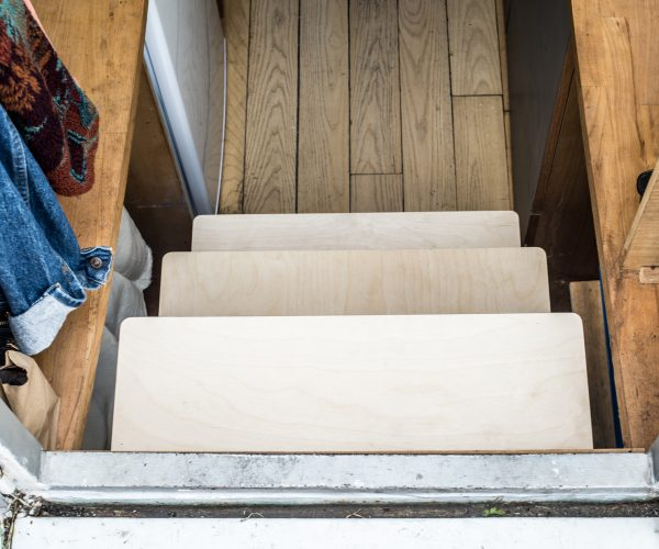 Everything Goes - Storage Steps on narrowboat. Entering boat via storage steps viewed from above